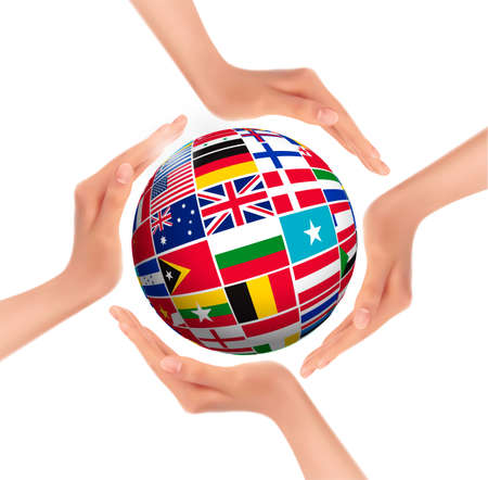 Hands holding globe with flags of world. Vector.  Vector