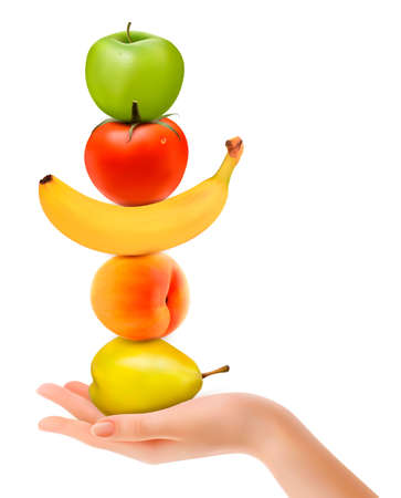 Group of fresh fruit with hand. Dieting concept. Vector.  向量圖像