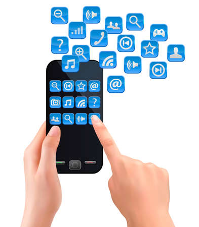 Hands holding mobile phone with icons. Vector. Illustration