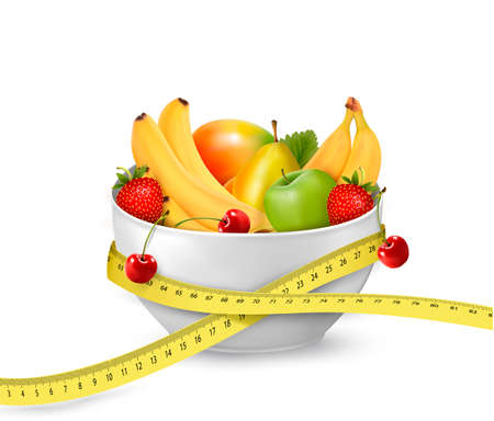 Diet meal. Fruit in a bowl with measuring tape. Concept of diet. Vector illustration Vector