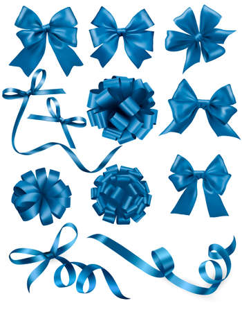 silk ribbon: Big set of blue gift bows with ribbons. Vector illustration.