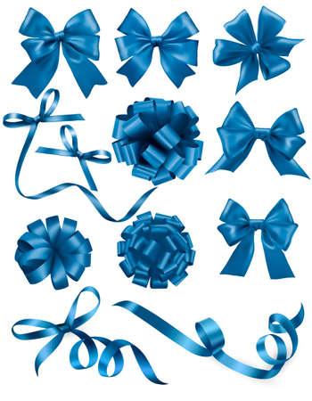 blue: Big tập các món quà màu xanh cúi đầu với băng. Vector hình minh họa. Hình minh hoạ