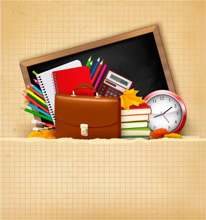 Back to school. Background with school supplies and old paper. Vector  Vector