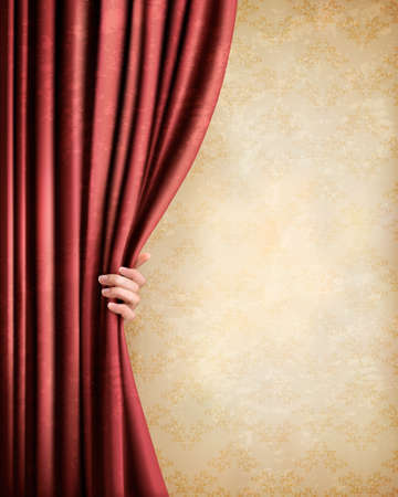 Vintage background with red old curtain and hand. Vector illustration Vector