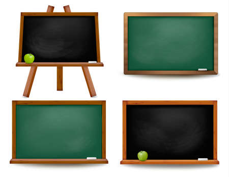 school board: Set of school board blackboards. Back to school. Vector illustration  Illustration