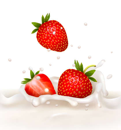 Red strawberry fruits falling into the milky splash. Vector illustration