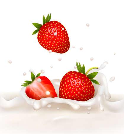 Rode aardbei vruchten die in de melkachtige splash. Vector illustratie