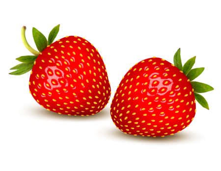 Rijpe aardbeien met bladeren. Vector.