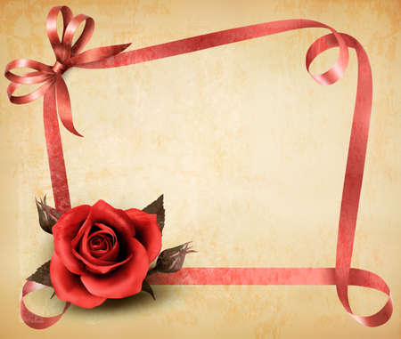 Retro holiday background with red rose and ribbons. Vector illustration.  Vector