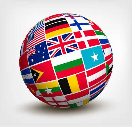 Bandiere del mondo nel mondo. Illustrazione di vettore. Archivio Fotografico - 21643206