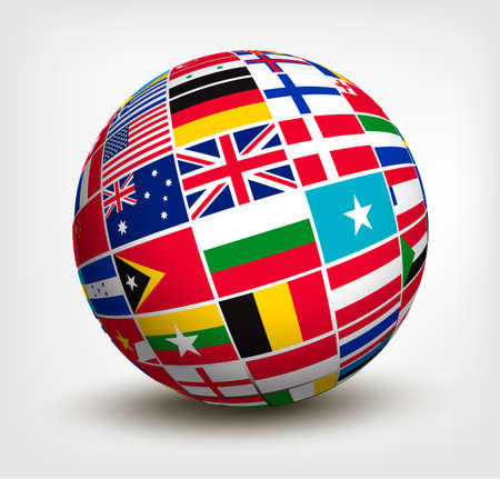 international: Flags of the world in globe. Vector illustration.