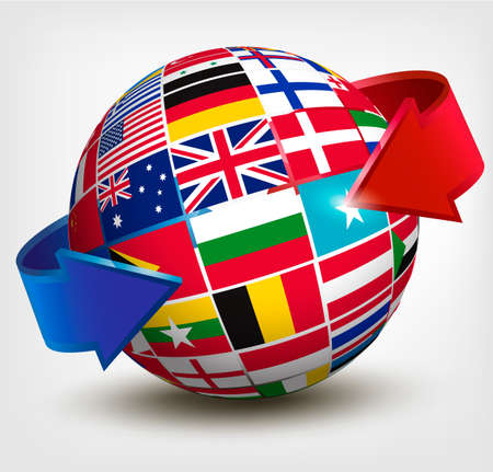 world location: Flags of the world in globe with an arrow. Vector illustration.  Illustration