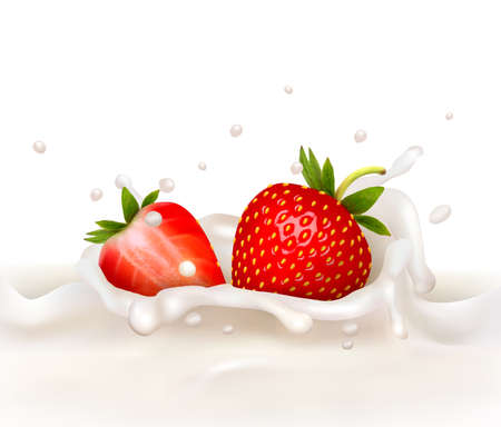 falling: Red strawberry fruits falling into the milky splash. Vector illustration