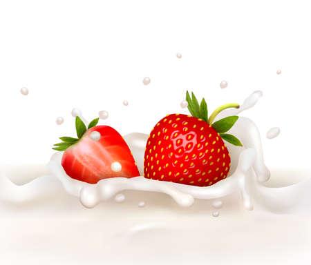 ungleichgewicht: Rote Erdbeere Fr?chte in die milchig Splash fallen. Vektor-illustration