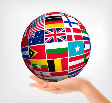 Flags of the world in globe and hand. Vector illustration.  Vector