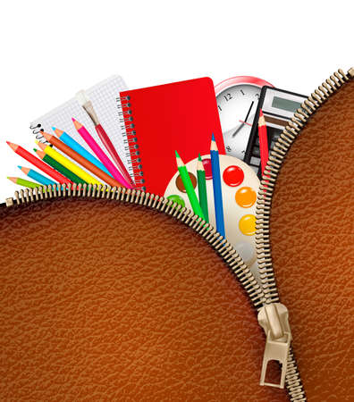 Back to school. Background with school supplies and zipper. Vector. Stock Vector - 21913736