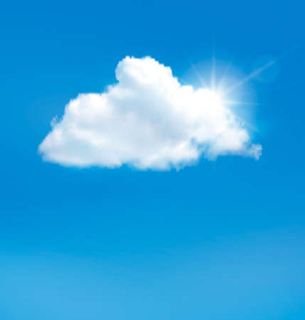 blue sky with clouds: Blue sky with cloud and sun. Vector background.  Illustration
