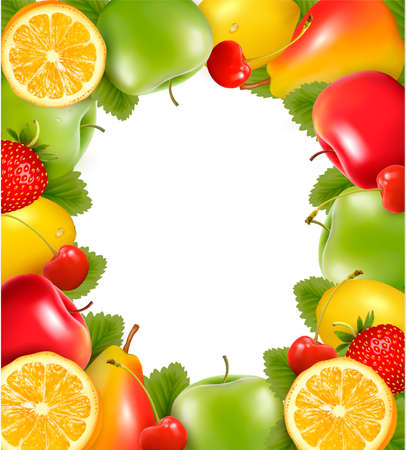 Frame made of fresh juicy fruit. Vector.  Vector