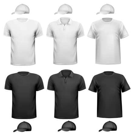playera negra: Blanco y negro camisa de los hombres y de la taza. Diseño de la plantilla. Ilustración vectorial
