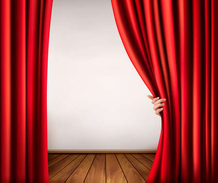 stage background: Background with red velvet curtain and hand. Vector illustration.