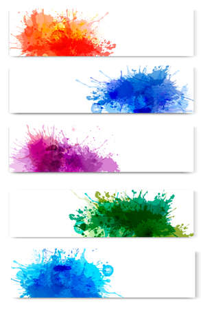 Collection of colorful abstract watercolor banners. Vector illustration. Stock Vector - 21913750