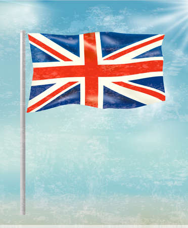 Retro background with flag of the United Kingdom on blue sky. Vector illustration  Stock Vector - 21913752