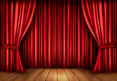 window curtains: Background with red velvet curtain and a wooden floor