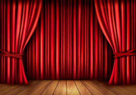 telon de teatro: Fondo con cortina de terciopelo rojo y un suelo de madera