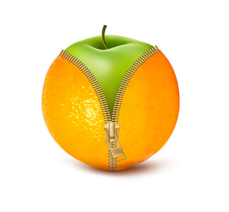 Unzipped orange with green apple. Fruit and diet against cellulite.