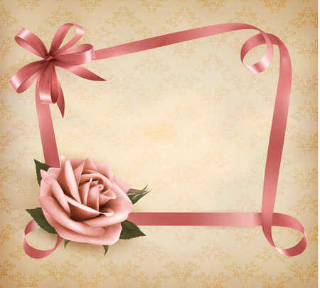 Retro holiday background with pink rose and ribbons.  Vector