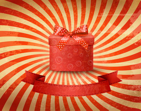 Holiday background with red gift ribbon with gift box  Illustration
