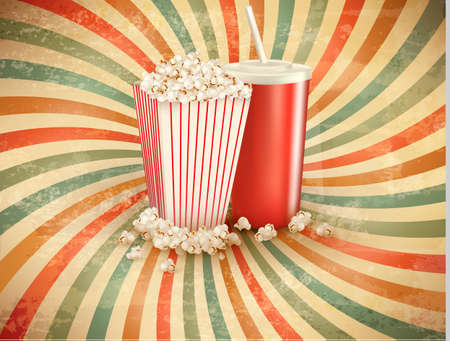 Retro background with Popcorn and a drink.  Vector