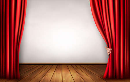 red curtain: Background with red velvet curtain and hand.
