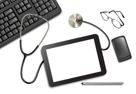 Tablet touch pad and office supplies on the table at the doctor.  Vector