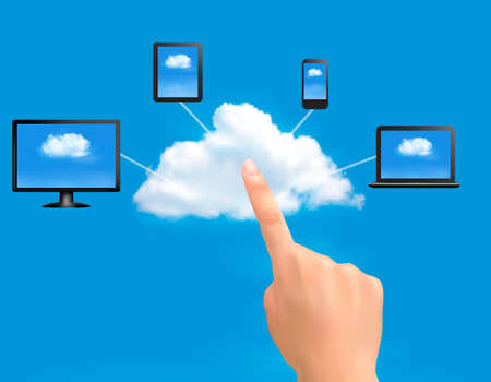 Cloud Computing concept background with hand. Vector