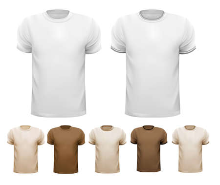 Set of white and colorful male shirts. Stock Vector - 22506773