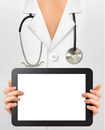 note pc: Doctor with stethoscope holding blank digital tablet.