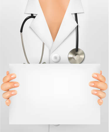 doctor visit: Doctor with stethoscope holding blank sheet of paper. Vector illustration.  Illustration