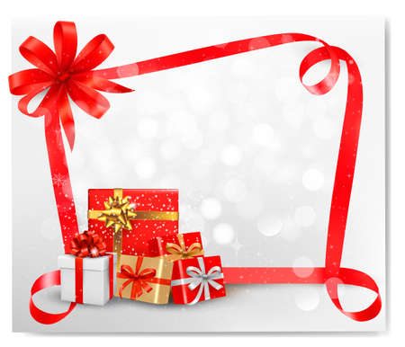Holiday background with red gift bow and gift boxes. Vector.  Vector