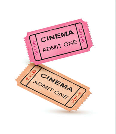 movie ticket: Old Vector vintage paper tickets with numbers. Vector