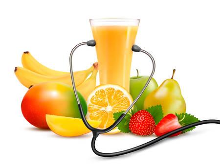 Grupo de fruta y un estetoscopio. Concepto de dieta. Ilustración de vector