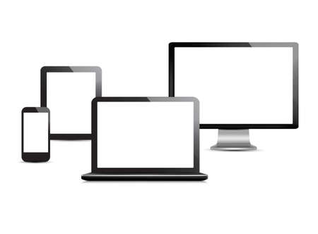 Set of computer devices.  Vector