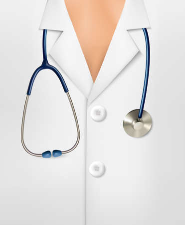 Close up of a doctors lab white coat and stethoscope.