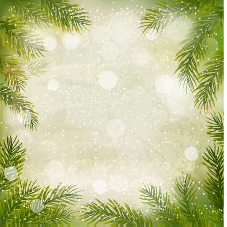 desember: Christmas retro background with tree branches and snowflakes.  Illustration