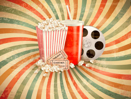 film production: Retro background with Popcorn and a drink.