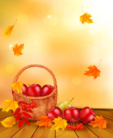 Autumn background with fresh fruit in basket. Healthy Food. Vector illustration Vector