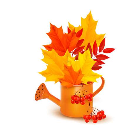 Fond d'automne avec des feuilles colorées qui poussent dans un arrosoir. Vector.