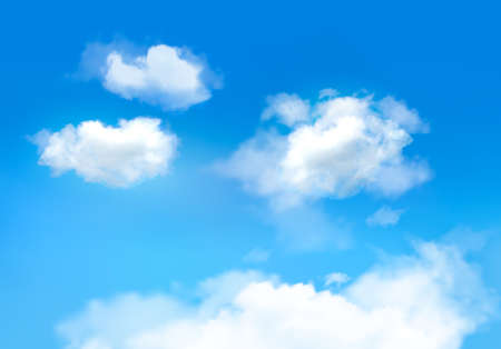 Blue sky with clouds. Vector background Иллюстрация