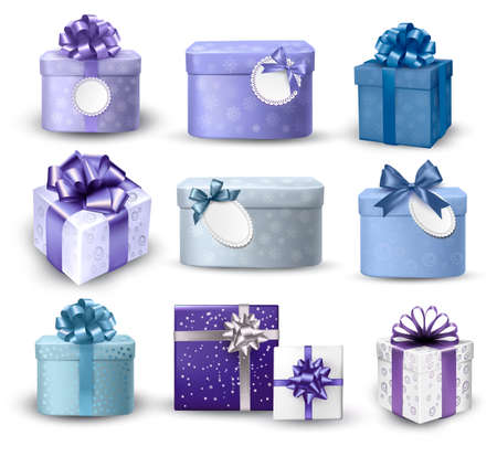 Set of colorful gift boxes with bows and ribbons. Vector illustration Vector
