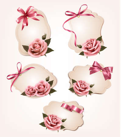 Collection of retro greeting cards with pink roses. Vector illustration. Illustration